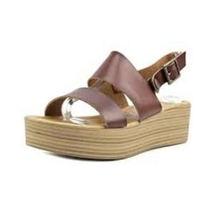 Blowfish lola brown platform sandal faux leather strappy round toe stacked heel